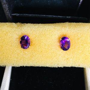 Jewelry - Genuine Amethyst in 14K Gold Setting Earrings